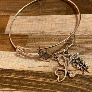Stainless steel nurse charm bracelet
